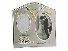Idea Regalo - Juliana Cornice portafoto per il 50° anniversario di matrimonio, placcata in argento, con due tonalità di colore