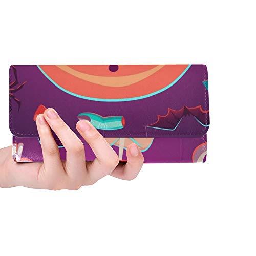 Einzigartige große Lutscher-Halloween-Plakat-Karten-Frauen-dreifachgefaltete Mappen-Lange Geldbeutel-Kreditkarte-Halter-Fall-Handtasche