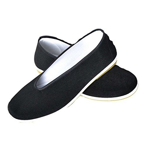 qiansu Herren Chinesische Traditionelle Kampfsportschuhe Kung Fu Tai Chi Schuhe Schwarz Flache Schuhe Peking Tuch Schuhe