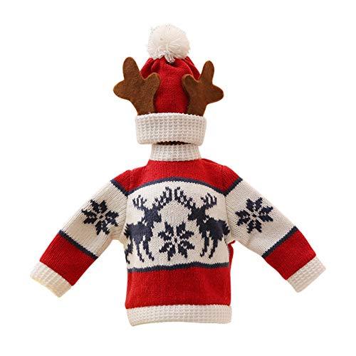Smilikee Weihnachtswein Flaschen Abdeckungs Geschenk Taschen Gestrickte hässliche Pullover Hut ()