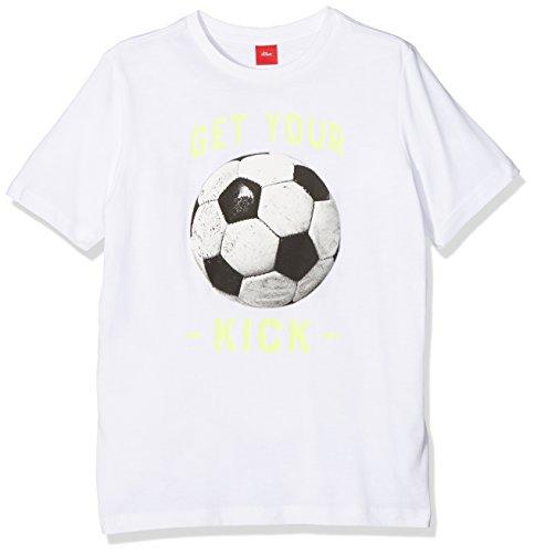 s.Oliver Jungen T-Shirt 62.802.32.6385, Weiß (White 0100), 140 (Herstellergröße: S) (Shirt Fußball-jungen)