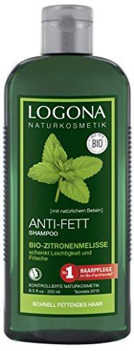 LOGONA Naturkosmetik Anti-Fett Shampoo Bio-Zitronenmelisse, Schenkt Leichtigkeit & Frische, Harmonisiert die Balance auf der Kopfhaut, Mit Bio-Pflanzenextrakten, 250ml