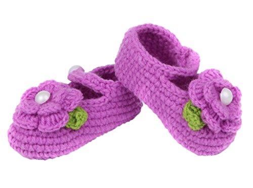 Bigood(TM) 1 Paar Strickschuh One Size Strick Schuh Baby Unisex süße Muster 11cm Blüte Pink A Lila