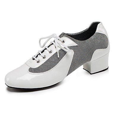 Scarpe da ballo-Personalizzabile-Da uomo-Balli latino-americani Jazz Danza moderna Scarpe da swing-Quadrato-Di pelle Vernice-Nero Rosso Black