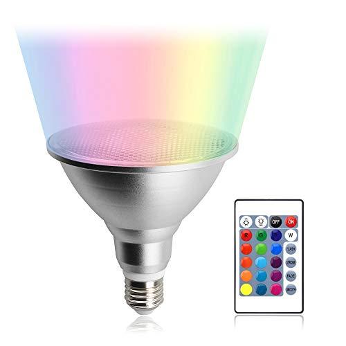 Luxvista PAR38 LED Lampe 20W E27 Dimmbar Spotlicht Reflektorlampe Wasserdicht IP65 Aluminium Glühbirne RGB Farbwechsel Licht Leuchtmittel mit Fernbedienung 120Grad(1 Stück) -