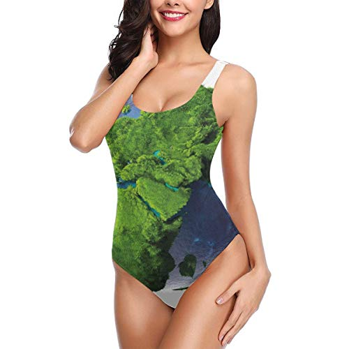 Swimming Costume for Women One Piece, World Covered with Lush Green Forest Grass and Blue Waters Eco Nature Concept,Round Neck Swimsuit Beach SwimwearXL