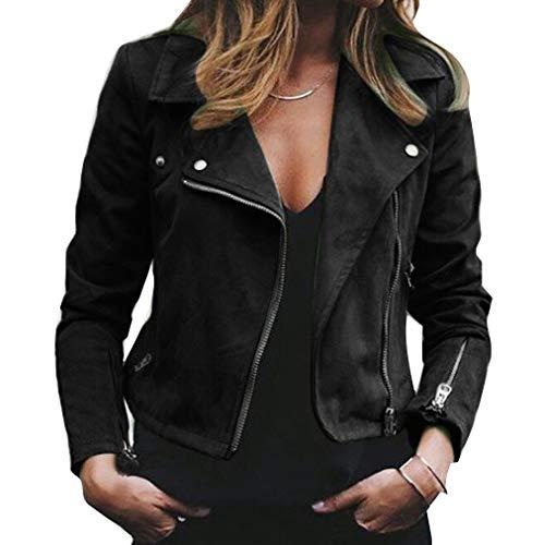 Damen-Beiläufige Weiche Künstlich Lederne Schräge Reißverschluss-Jacke Klassische Winter-Warme Outwear-Kerben-Kragen Moto Biker Rock Style Tops