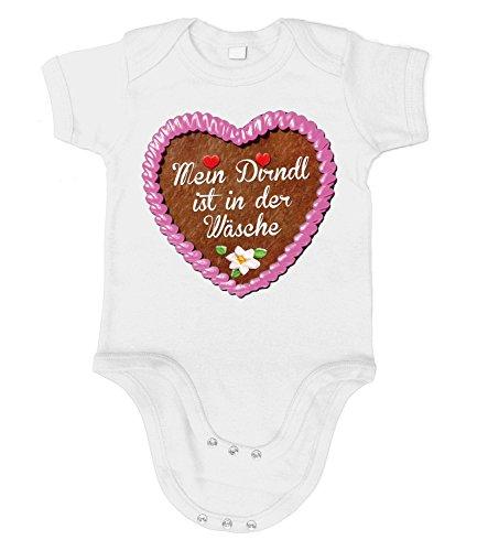 Artdiktat Baby Organic Bodysuit - Strampler - Lebkuchenherz - Mein Dirndl ist in der Wäsche Größe 60/66, weiß