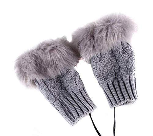 Ericotry 1 Paar (2 Stück) Winter-Warmer Dicker Fingerlose Handschuhe USB beheizter Plüsch warm kältefest Strick Handschuhe Laptop Fäustlinge Handwärmer für Frauen Teenager Mädchen (grau)