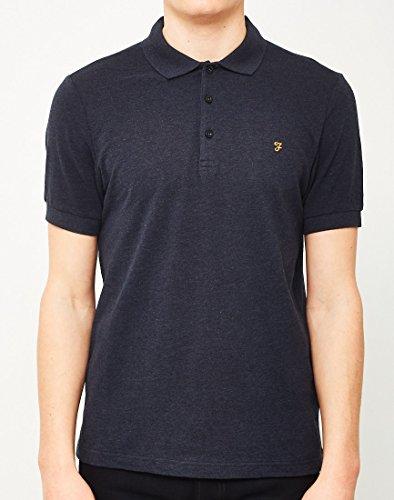Farah Blaney Short Sleeve Polo Shirt in Dusky Blue True Navy Marl