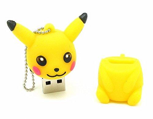 Bayram® Pikachu Pokemon USB Stick 8GB Schlüsselanhänger | 2.0 High Speed Disney Lustige Geschenke Speicherstick | Memory Stick Flash Drive aus Hart-PVC | 3D Figur Gadget