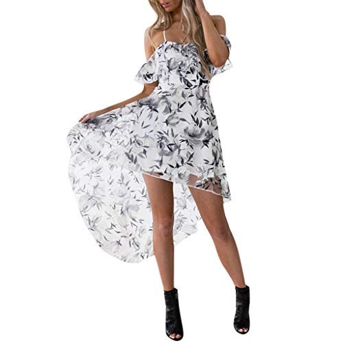 NNVNN Frauen Kurzarm Loses T-Shirt Kleid Sling Trägerloses Schulterkleid Minikleid