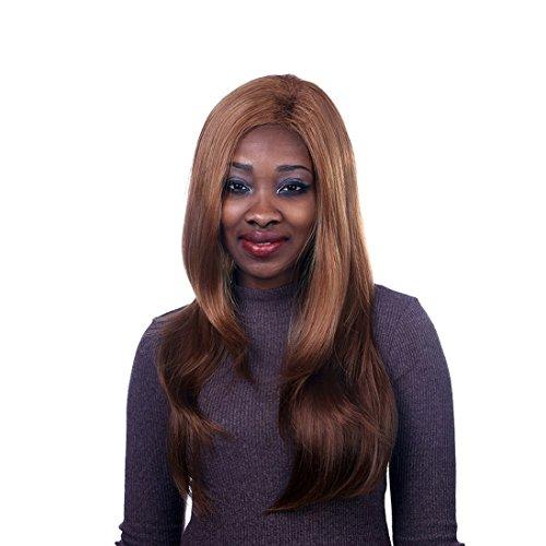 A.Monamour Longue Ligne Droite Naturelle Dorée Foncée Des Femmes Sans Frange Résistants À La Chaleur Des Cheveux Synthétiques Perruque Complète