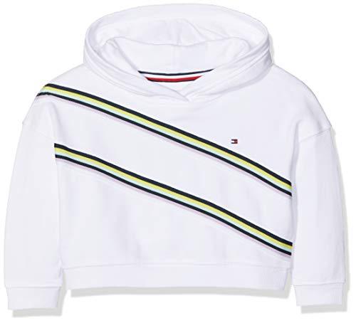 Tommy Hilfiger Baby-Mädchen Knitted Tape Hoodie Kapuzenpullover Weiß (Bright White 123), Herstellergröße: 92