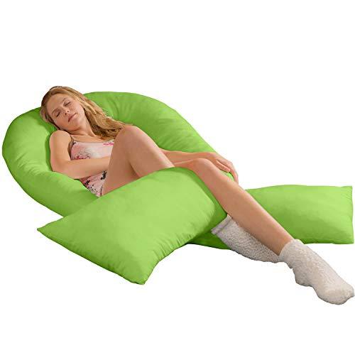 Traumreiter Jumbo XXL Seitenschläferkissen mit Kissenbezug Apfel-grün Schwangerschaftskissen Ganzkörperkissen Body Pillow u-Kissen