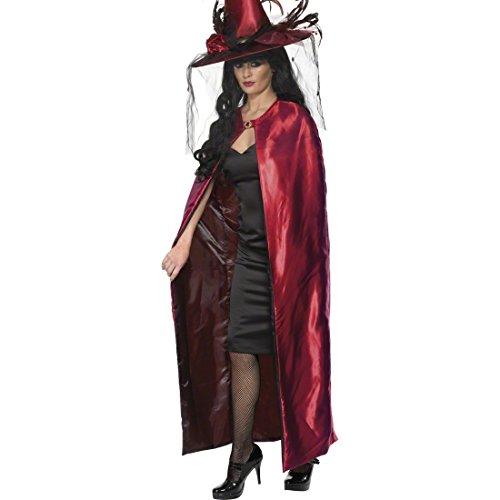 NET TOYS Cape de sorcière manteau réversible noir-rouge cape sorcière veste réversible manteau de sorcière cape réversible déguisement Halloween