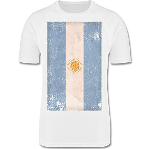 Städte & Länder Kind - Argentinien Flagge Vintage - 152 (12-13 Jahre) - Weiß - F350K - atmungsaktives Laufshirt/Funktionsshirt für Mädchen und Jungen