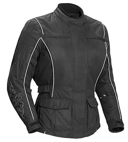 1509 Bangla Damen Motorrad Jacke Bikerjacke Textil schwarz mit Tribalmuster Gr. M