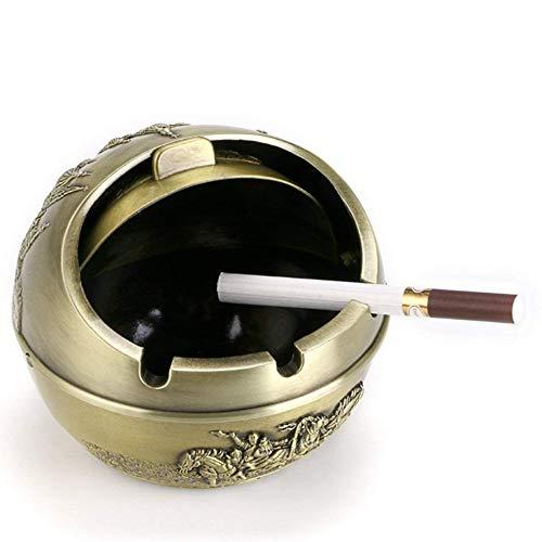 Posacenere antivento vintage con coperchio - modello castello in metallo porta sigarette posacenere da tavolo per uso esterno e interno (bronzo verde)