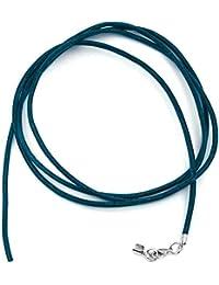 Unbespielt Cordón de cuero collar de cadena pendiente de azul para hombres de las mujeres y niños de bloqueo de plata mosquetón de color longitud de 1 m de anchura de 2 mm más corta