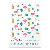 greetinks 30 x Einladungskarten für Geburtstag 'Flamingos' in Rosa | Personalisierte Einladungen zum selbst gestalten | 30 Stück Geburtstagseinladungen - Einladungen Party & Jugendweihe