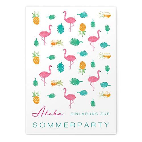 greetinks 60 x Einladungskarten für Geburtstag 'Flamingos' in Rosa   Personalisierte Einladungen zum selbst gestalten   60 Stück Geburtstagseinladungen - Einladungen Party & Jugendweihe