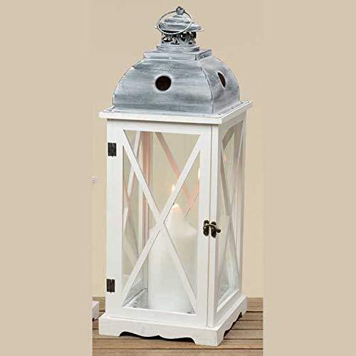 Objektkult Kerzenhalter Laterne Tudor, Windlicht aus weißem Holz und Glas, mit Türchen zum Öffnen, Maße (H x B x T): 60 x 22 x 22 cm, Lichtdeko und Kerzendekoration