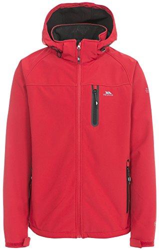 Trespass Accelerator II, Red, L, Wasserdichte Softshelljacke mit abnehmbarer Kapuze für Herren, Large, Rot