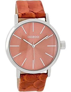 Oozoo Damenuhr mit Lederband 40 MM Korallrot/Korallrot C7176