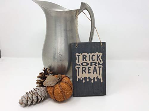 Monsety Home Dekoschild aus Holz, Motiv: Trick or Treat, kleine Halloween-Dekoration, mit Sprüchen