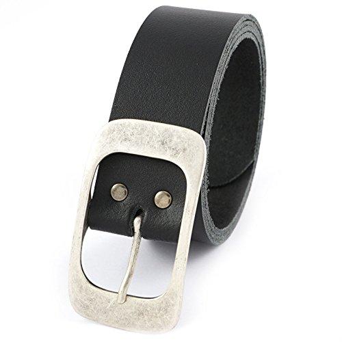 Echt Leder Damen Herren Gürtel 100% Vollrindleder Buckle Schnalle Belt Neu 20570, Größe:115cm;Farbe:Schwarz
