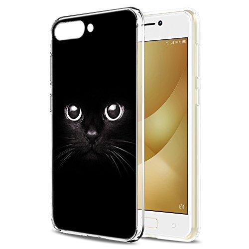 Asus ZenFone 4 Max ZC520KL Hülle, Eouine Ultra Slim Soft TPU Muster Schutzhülle Silikon Stoßfest Bumper Case Cover für Asus ZenFone 4 Max ZC520KL (5,2 Zoll) Smartphone (Schwarze Katze)