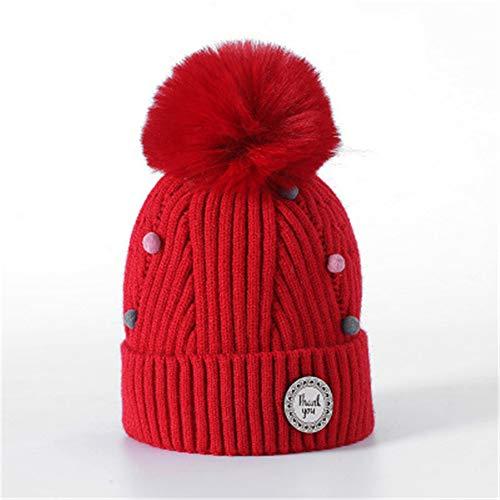 Kostüm Frau Mit Schnee Hut - GUOSH Herbst Und Winter Kinder Wollmütze Mode Sowie Samt Futter Strickmütze Großen Haarball Hut Stil 5