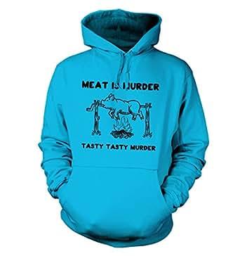 Meat Is Murder Tasty Tasty Murder Hoodie - Science Geek Hoodie - Hawaiian Blue