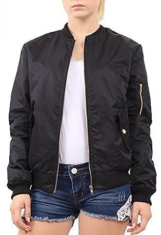 Mochoose Veste Blouson Jacket Bomber Rembourré Uni Classique Fermeture Éclair Manches Longues Manteau Femme(Noir,38)