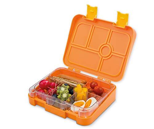 schmatzfatz Vesperbox/Bento Box/Lunchbox für Kinder mit 6 Fächern, robust und auslaufsicher (Orange)