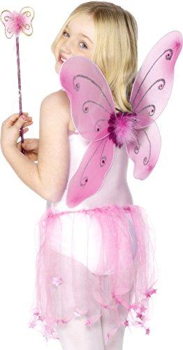Smiffys, Kinder Mädchen Schmetterling Flügel und Zauberstab, One Size, Pink, (Kostüme Erwachsene Butterfly Halloween Für)