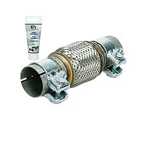 Universal Flexrohr - 50 x 100 mm - mit 2 Schellen - aus Edelstahl - Interlock - Montage ohne Schweißen + Auspuff-Montagepaste 60g - flexibles Rohr - Flexstück Wellrohr Hosenrohr Auspuff Abgasanlage