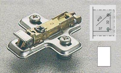 Bases clip DOMI regulación frontal excéntrica para bisagras SALICE Chapa Material: Acero , Acabado: Niquelado no incluye tornillo