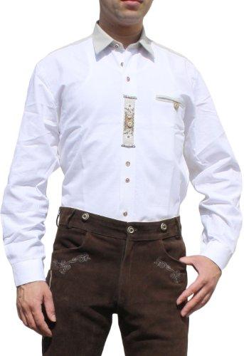 Trachtenhemd für Lederhosen Trachtenmode wiesn mit Verzierung weiß, Hemdgröße:2XL