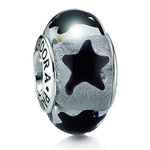 Pandora Damen-Charm Murano Glas Stern Schwarz 790908