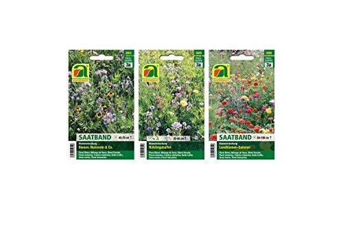 3 varietà | Assortimento di semi di fiori | Banda di semi estivi fiore paese | Bee Bumblebees & Co. Seed Band | Miscela di fiori a buffet
