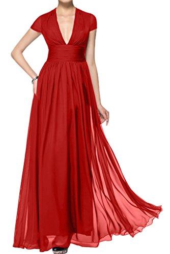 ivyd ressing giromanica scollo a V A-line di lunga Prom abito party sera abito corto da donna Rosso