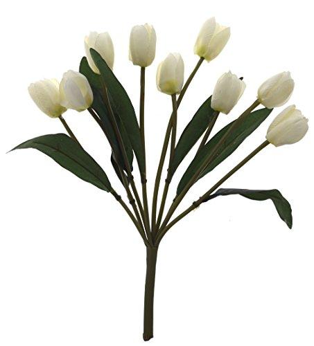 Fourwalls Beautiful Artificial Tulip Bunch (9 Flowers, White)
