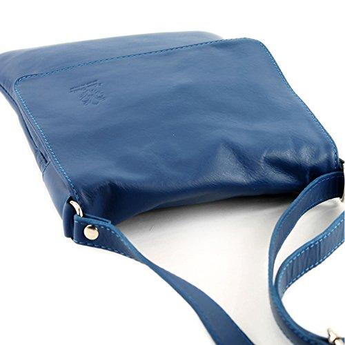 modamoda - ital. Ledertasche Schultertasche Umhängetasche Damentasche Nappaleder T33 Blau