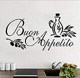 Mrlwy Buon Appetito Adesivo Murale Italien Maison Cuisine Stickers Muraux Art Vinyle Stickers Pour Salle À Manger Décoration De La Maison 55X28 Cm