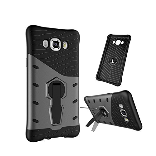 Chevron Samsung Galaxy J7 2016 Back Cover - Galaxy Black [Sniper 360° Rotate Stand Version 3.0 Ultimate Warrior Case] [Air Cushion Technology - Shock Proof] [Dual Layer Impact Protection Kick Stand] For Samsung Galaxy J7 2016