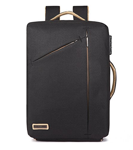 SUZone Multi-functional Business Laptop Backpack Oversized Outdoor Travel Hiking Shoulder Bag Rucksack with USB Charging Port Black (Rücken-reißverschluss-tasche)