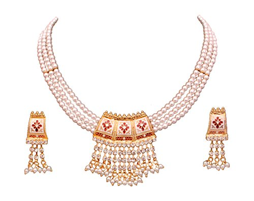 Sitashi White Pearl Rajsthani Meenakari Necklace Set for Girls and Women (White-Maroon)