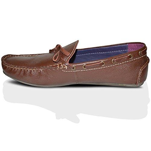 100% Leder Fahrer Schuhe Herren Neue Mode Halbschuhe Freizeitschuhe Braune Slipper